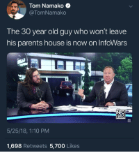 Old Guy: Tom Namako  @TomNamako  The 30 year old guy who won't leave  his parents house is now on InfoWars  WARS  5/25/18, 1:10 PM  1,698 Retweets 5,700 Likes