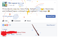 Gryffindor, Harry Potter, and Slytherin: Tom sawyer m  7 mins  Pili ka dito at i-copy mo: Harry Potter, Slythefir  or, Ravenclaw,  t mo t makikita ang magic  15,556 people re  Boost Post  Like CommentShare  158  Most Recent .  1 share  Harry Potter  Like Reply Just now Pili ka dito at i-comment mo: Harry Potter, Slytherin, Gryffindor, Ravenclaw, and Hufflepuff. Makikita mo ang magic 😎 ──☆*:・゚
