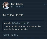Drunk, Shit, and White People: Tom Schally  @TomSchally  It's called Florida.  Angelo @Daddy Lopez55  There should be a zoo of drunk white  people doing stupid shit  7/22/18, 1:23 PM Or just follow @drunkpeopledoingthings it's the same shit