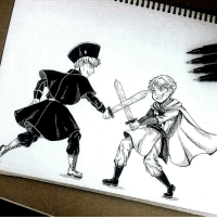 "tomatoandlettuce:    Inktober - Day 6 (Brothers)  Did you know that HRE is supposed to be older than Gilbert? No? Know you do(?. I always imagine Hre lecturing lil gilbert and them playing ""swords"" like human kids do but with actual real heavy steel swords that could kill you in a second.  : tomatoandlettuce:    Inktober - Day 6 (Brothers)  Did you know that HRE is supposed to be older than Gilbert? No? Know you do(?. I always imagine Hre lecturing lil gilbert and them playing ""swords"" like human kids do but with actual real heavy steel swords that could kill you in a second."