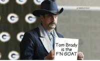 Aaron Rodgers, Tom Brady, and Goat: @TOMBRADYSEGO  Tom Brady  is the  F'N GOAT Aaron Rodgers https://t.co/CSvgqbIa10