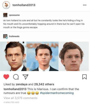 Confirmed by the man himself 0_0: tomholland2013  opossume  ok tom holland is cute and all but he constantly looks like he's hiding a frog in  his mouth and it's uncomfortably hopping around in there but he can't open his  mouth or the frogs gonna escape  fruitmeats  Liked by zendaya and 29,342 others  tomholland2013 This is hilarious. I can confirm that the  rumours are true #spidermanhomecoming  View all 3,575 comments  4 MINUTES AGO Confirmed by the man himself 0_0
