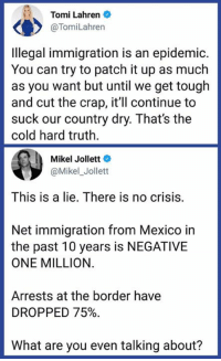 Fake, Immigration, and Mexico: Tomi Lahren  @TomiLahren  Ilegal immigration is an epidemic.  You can try to patch it up as much  as you want but until we get tough  and cut the crap, it'll continue to  suck our country dry. That's the  cold hard truth  Mikel Jollett  @Mikel_Jollett  This is a lie, There is no crisis  Net immigration from Mexico in  the past 10 years is NEGATIVE  ONE MILLION.  Arrests at the border have  DROPPED 75%.  What are you even talking about? Fake problems are fake.