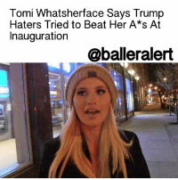 """Memes, The Hood, and Lincoln: Tomi Whatsherface Says Trump  Haters Tried to Beat Her A*s At  Inauguration  oballeralert Tomi Whatsherface Says Trump Haters Tried to Beat Her Ass At Inauguration - blogged by: @eleven8 ⠀⠀⠀⠀⠀⠀⠀⠀⠀ ⠀⠀⠀⠀⠀⠀⠀⠀⠀ There have been a lot of excuses as to why DonaldTrump's inauguration had such a low turn out. Some blamed the cold rain, several supporters said they had jobs to attend to and others say the sparseness of the event was all an optical illusion to be blamed on tricky camera angles and grass covers. ⠀⠀⠀⠀⠀⠀⠀⠀⠀ ⠀⠀⠀⠀⠀⠀⠀⠀⠀ Youtube journalist, Tammi Lauren, believes Trump's lack of supporters could be due to the hostile environment. According to Tara, she was almost attacked by a bunch of protesters at Donald Trump's inauguration. ⠀⠀⠀⠀⠀⠀⠀⠀⠀ ⠀⠀⠀⠀⠀⠀⠀⠀⠀ Toni Lawson tells TMZ, """"It was not a hospitable environment for Trump supporters. I saw so many Trump supporters that were afraid to say they were going to the inauguration because the 'loving left', which is actually the unloving and intolerant left, were attacking Trump supporters."""" ⠀⠀⠀⠀⠀⠀⠀⠀⠀ ⠀⠀⠀⠀⠀⠀⠀⠀⠀ Terri goes on to say, """"I was walking to the ball and folks with the 'black power' symbol on the back of their hoodies tracked me down, tried to pound on my cab door, jumped on the hood of my cab and tried to bust the windshield out because they recognized who I was."""" ⠀⠀⠀⠀⠀⠀⠀⠀⠀ ⠀⠀⠀⠀⠀⠀⠀⠀⠀ Tabitha says that she """"hates D.C."""" because it's """"no longer the town of Lincoln or the town of Reagan."""" ⠀⠀⠀⠀⠀⠀⠀⠀⠀ ⠀⠀⠀⠀⠀⠀⠀⠀⠀ Poor Tori Lawrence. Be safe tho. ballerificpolitics"""