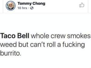 Fucking, Taco Bell, and Weed: Tommy Chong  10 hrs  Taco Bell whole crew smokes  weed but can't roll a fucking  burrito. He is an expert