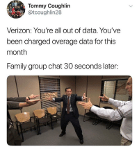 Family, Funny, and Group Chat: Tommy Coughlin  @tcoughlin28  Verizon: You're all out of data. You've  been charged overage data for this  month  Family group chat 30 seconds later: 😂😂😂😂