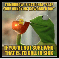 Memes, Tomorrow, and Coworkers: TOMORROW IS NATIONAL SLAP  YOUR ANNOYING COWORKER DAY  IF YOU'RE NOT SURE WHO  THAT IS, ITD  CALLIN SICK