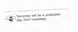 Tumblr, Black, and Blog: Tomorrow will be a productive  day. Don't oversleep fortuneaday:[A white fortune cookie paper with black text on the front and an icon of a bee. It reads: Tomorrow will be a productive day. Don't oversleep.]