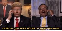"<p><a href=""https://www.youtube.com/watch?v=ODlo1ifNwbI&amp;index=5&amp;list=UU8-Th83bH_thdKZDJCrn88g"" target=""_blank"">Donald Trump (Jimmy) &amp; Ben Carson (David Alan Grier) talk on the phone during the Democratic Debate!</a><br/></p>: TON  CARSON: IGET FOUR HOURS OF SLEEP,PER HOUR. <p><a href=""https://www.youtube.com/watch?v=ODlo1ifNwbI&amp;index=5&amp;list=UU8-Th83bH_thdKZDJCrn88g"" target=""_blank"">Donald Trump (Jimmy) &amp; Ben Carson (David Alan Grier) talk on the phone during the Democratic Debate!</a><br/></p>"