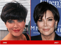 "Birthday, Memes, and Good: TON  P:  LEC  OCTOB  AN  2017  1991 Good Genes or Good Docs 🤔 Good luck keeping up with Kris Jenner's good looks! Here's a 35-year-old version of Kris back in 1991 (left) and 26 years later ... the momager of six - who is celebrating her 62nd birthday Sunday - early last month (right). ""Okurrr!"" kuwtk kardashian krisjenner tmz goodgenes"