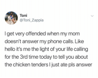 Hello, Life, and Phone: Toni  @Toni Zappia  I get very offended when my mom  doesn't answer my phone calls. Like  hello it's me the light of your life calling  for the 3rd time today to tell you about  the chicken tenders l just ate pls answer @tonizapp