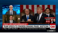 """""""The bar is so very low."""" Congressman Seth Moulton blasts President Donald J. Trump's speech to Congress: """"He got up there. He was able to string several complete sentences together from a teleprompter and not offend half the world and so we're excited and people think it was a great speech, but it was a hollow speech."""": TONIGHT 9PM ET  TOWN HALL  52 222  PIVOT OR PERFORMANCE?  TRUMP SPEECH TO CONGRESS DRAWING PRAISE, SKEPTICISM CINNI  Rep. Seth Moulton (D) House Armed Services Committee 8:07 PM ET  AC360° """"The bar is so very low."""" Congressman Seth Moulton blasts President Donald J. Trump's speech to Congress: """"He got up there. He was able to string several complete sentences together from a teleprompter and not offend half the world and so we're excited and people think it was a great speech, but it was a hollow speech."""""""