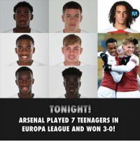 🎩 Hats-off 👏: TONIGHT!  ARSENAL PLAYED 7 TEENAGERS IN  EUROPA LEAGUE AND WON 3-0! 🎩 Hats-off 👏