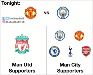 Accurate!! https://t.co/qGO7IbDmJx: Tonight:  CHEST  CHES  VS  94  18  CITY  TrollFootball  TheFootballTroll  CHES  94  CITY  YOULL NEVER WALKALONE  LIVERPOOL  FOOTBALL CLUB  Arsenal  EST 1892  OTBALL  HOTSPUR  Man City  Supporters  Man Utd  Supporters Accurate!! https://t.co/qGO7IbDmJx