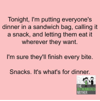😂: Tonight, I'm putting everyone's  dinner in a sandwich bag, Calling it  a snack, and letting them eat it  wherever they want.  I'm sure they'll finish every bite  Snacks. It's what's for dinner  THE  OUTNUMBERED  MOTHER 😂