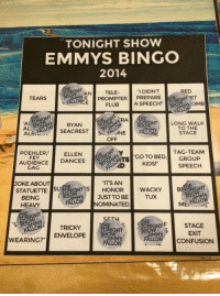 "Gif, Party, and Target: TONIGHT SHOW  EMMYS BINGO  2014  I DIDNT  PROMPTER PREPARE  AN  TELE-  RED  TEARS  GHT ET  FLUB  A SPEECH!  OMB  Al  AL.  ALR  RYANRAE  LONG WALK  TO THE  STAGE  OFF  POEHLER/ ELLENS  GO TO BEDGROUP  TAG-TEAM  FEY  AUDIENCE DANCES  AD KIDS!  ALTEXD  SPEECH  CAC  JOKE ABOUT  ""ITS AN  STATUETTE SUGHTESHONOR  WACKYB  ONIGHT  MMY  JUST TO BETUX  BEING  HEAVY  NOMINATED  SET4  HT F  STAGE  EXIT  CONFUSION  TRICKY  NIGHT  HO  WEARING? ENVELOPE <p><a class=""tumblr_blog"" href=""http://falloutfallon.tumblr.com/post/95791562756/played-the-tonight-show-emmys-bingo-during-the"" target=""_blank"">falloutfallon</a>:</p> <blockquote> <p>Played the Tonight Show Emmys Bingo during the Emmys. I GOT A BINGO!</p> </blockquote> <p>Wooo! BINGO! </p> <p><img alt="""" src=""https://78.media.tumblr.com/b9d438672b94e1afb732bd083976df7f/tumblr_n4tg1iWqzA1tv4k5po1_400.gif""/></p> <p>You did it!</p> <p> <img alt="""" src=""https://78.media.tumblr.com/8d87553e2fc84bb9e2e11bbca0302fe5/tumblr_n4rkbs2OIw1tv4k5po1_400.gif""/></p> <p>Give us five.</p> <p> <img alt="""" src=""https://78.media.tumblr.com/5e3f7a5dd019188937e2e9436b8cf53f/tumblr_n54d6o0gax1tv4k5po1_400.gif""/></p> <p>Only thing left to do now is PARTY! <img alt="""" src=""https://78.media.tumblr.com/8cb5f7e7496f44e6ad2b92f67e58a433/tumblr_n7dfrpc4B21tv4k5po1_500.gif""/></p> <p>Hope you had fun playing Emmys Bingo! - Noah </p>"