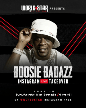 Tonight we got Boosie taking over our IG Live at 9 PM EST/ 6 PM PST! Set a reminder now, you don't wanna miss it! 📱🙌 @BoosieOfficial https://t.co/wbqWAj6hEd: Tonight we got Boosie taking over our IG Live at 9 PM EST/ 6 PM PST! Set a reminder now, you don't wanna miss it! 📱🙌 @BoosieOfficial https://t.co/wbqWAj6hEd
