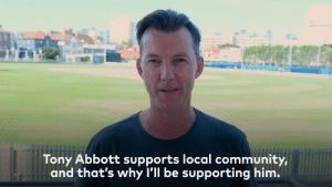 "Community, Dank, and Tony Abbott: Tony Abbott supports local communit  im.  y,  and that's why l'll be supporting h ""Tony Abbott suports the local community, and that's why I'll be supporting him."" - Brett Lee  Hear why Brett Lee is on #TeamTony:"