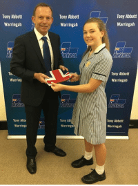 I recently had the honour of presenting local schoolgirl Isabella Cullen with an Australian flag before she goes overseas on exchange.: Tony Abbott  Warringah  To  Warring  Tony Abbt  Warringa  Tony Abbott  Warringah  TBERAL  Tony Ab  Warringa  Tony Abbott  Warringah  LIBERAL  Tony Abbott  Warringah  Tony Abbott  Warringah I recently had the honour of presenting local schoolgirl Isabella Cullen with an Australian flag before she goes overseas on exchange.