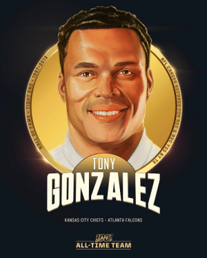 .@TonyGonzalez88 is one of the five tight ends selected to the #NFL100 All-Time Team!  💪 6x First-Team All-Pro 💪 14x Pro Bowler (T-Most in NFL History) 💪 1,325 receptions, 15,127 receiving yards (both 1st among TEs) 💪 NFL 2000s All-Decade Team https://t.co/eoNNXVbBv9: TONY  BONZALEZ  AONZALF7  KANSAS CITY CHIEFS · ATLANTA FALCONS  ALL-TIME TEAM  NFL CAREER RECORDS FOR REC & REC YDS BY TE  HALL OF FAME TIGHT END • 1997-2013 .@TonyGonzalez88 is one of the five tight ends selected to the #NFL100 All-Time Team!  💪 6x First-Team All-Pro 💪 14x Pro Bowler (T-Most in NFL History) 💪 1,325 receptions, 15,127 receiving yards (both 1st among TEs) 💪 NFL 2000s All-Decade Team https://t.co/eoNNXVbBv9