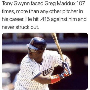 LEGEND: Tony Gwynn faced Greg Maddux 107  times, more than any other pitcher in  his career. He hit 415 against him and  ever struck out  19  RES  Ganklin LEGEND