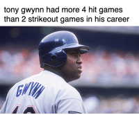 Mlb, Games, and Legend: tony gwynn had more 4 hit games  than 2 strikeout games in his career LEGEND