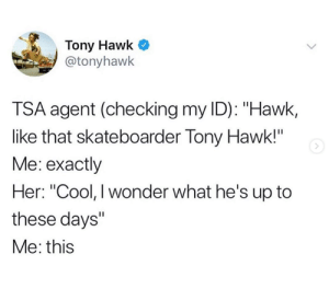 "from twitter.com/tonyhawk: Tony Hawk  @tonyhawk  TSA agent (checking my ID): ""Hawk,  like that skateboarder Tony Hawk!""  Me: exactly  Her: ""Cool, I wonder what he's up to  these days""  Me: this from twitter.com/tonyhawk"