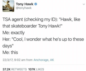 "Dank, Memes, and Reddit: Tony Hawk  @tonyhawk  TSA agent (checking my ID): ""Hawk, like  that skateboarder Tony Hawk!""  Me: exactly  Her: ""Cool, I wonder what he's up to these  days""  Me: this  22/3/17, 9:02 am from Anchorage, AK  37.2K RETWEETS 107K LIKES Meirl by Dankmemer60 FOLLOW 4 MORE MEMES."