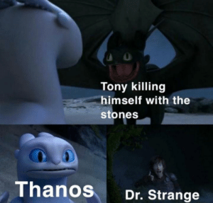 Ok then: Tony killing  himself with the  stones  Thanos  Dr. Strange Ok then