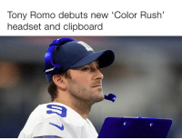 """Nfl, Tony Romo, and Rush: Tony Romo debuts new """"Color Rush'  headset and clipboard  Lapse 😭 Credit: The Kicker"""