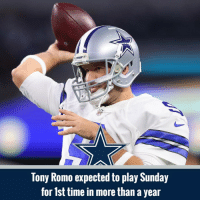 Memes, Tony Romo, and Mark Sanchez: Tony Romo expected to play Sunday  for 1st time in more than a year Dak Prescott is expected to start Sunday's game, but both Romo and fellow backup Mark Sanchez will also see action, according to Adam Schefter.