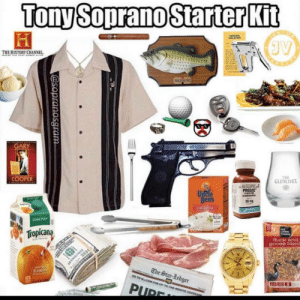So what, no fuckin ziti now?: Tony Soprano Starter Kit  PARKING  VIOLATION  JV  THE HISTORY CHANNEL  GARY  COOPER  THE  GLENLIVET  PAVULE  PROZAC  Untéle  Bens  SOME PUA  20 mg  ORIGINAL  PowTA  SOME PULP  ALL  IVING  THINGS  Tropicana  duck and  goose blenc  The Star-Ledger  FLORIDA  00 TO NJ.COM FOR UP-TO-THE-MINUTE COVERAG  PUDE  ваа  @sopranosgram So what, no fuckin ziti now?