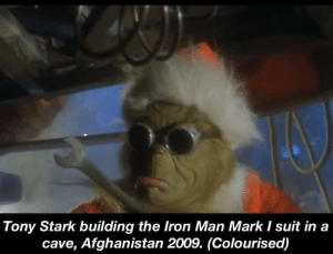 Just rewatched the first Iron Man, truly an eye opening scene: Tony Stark building the Iron Man Mark I suit in a  cave, Afghanistan 2009. (Colourised) Just rewatched the first Iron Man, truly an eye opening scene