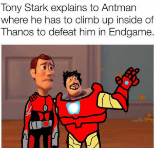 Antman, Thanos, and Tony Stark: Tony Stark explains to Antman  where he has to climb up inside of  Thanos to defeat him in Endgame. Getting outs a lot harder than gettin in..