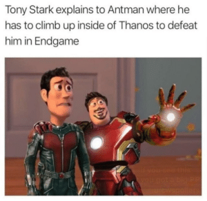 Antman, Thanos, and Tony Stark: Tony Stark explains to Antman where he  has to climb up inside of Thanos to defeat  him in Endgame This is still relevant goddammit