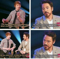 Robert Downey Jr.: Tony Stark Shouse pretty awesome on.. the coolest thing in my house  sdi  What's the coaest thingern yourhouser  probably all the Iron Man memorabilia  Oh, you have a lot? Do they let you keeRig  eV don't necessarily  Things just go mussing  lot from the set? Robert Downey Jr.