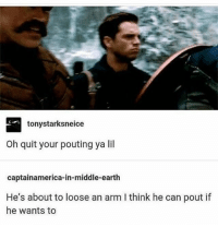 Memes, True, and Earth: tonystarksneice  Oh quit your pouting ya lil  captainamerica-in-middle-earth  He's about to loose an arm I think he can pout if  he wants to true ° 《cred to @marvelous.soldier 》