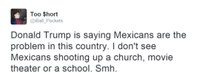 Church, Donald Trump, and School: Too $hort  @iBall_Pockets  Donald Trump is saying Mexicans are the  problem in this country. I don't see  Mexicans shooting up a church, movie  theater or a school. Smh. eniimasj:  had to reblog this 3 times bc damn