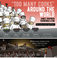 """Omg, Too Many Cooks, and Tumblr: """"TOO MANY COOKS""""  AROUND THE  WORLD  JAMES CHAPMAN  SOUNDIMALS.COM  SNIFF  SNIFF  Too many cooks spoil the  )Porridge  Mash  (Germany) (Finland) (Netherlands) (Venezuela) turning it purple  Soup  Broth  specifically,  Where many roosters crow,  dawn is slow to come  (Greece, Italy) <p><a href=""""https://omg-images.tumblr.com/post/165120058147/the-phrase-too-many-cooks-around-the-world"""" class=""""tumblr_blog"""">omg-images</a>:</p>  <blockquote><p>The phrase """"Too Many Cooks"""" around the world</p></blockquote>"""