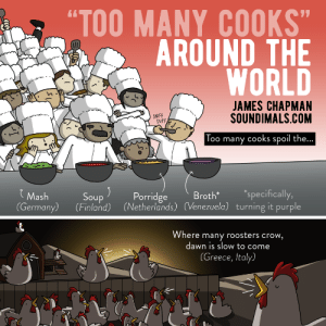 """Omg, Too Many Cooks, and Tumblr: """"TOO MANY COOKS""""  AROUND THE  WORLD  JAMES CHAPMAN  SOUNDIMALS.COM  SNIFF  SNIFF  Too many cooks spoil the  )Porridge  Mash  (Germany) (Finland) (Netherlands) (Venezuela) turning it purple  Soup  Broth  specifically,  Where many roosters crow,  dawn is slow to come  (Greece, Italy) omg-images:  The phrase """"Too Many Cooks"""" around the world"""