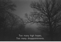 Hope, High, and Too: Too many high hope  Too many disappointments.  s,