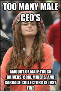 Memes, 🤖, and Garbage: TOO MANY MALE  CEO'S  AMOUNT OF MALE TRUCK  DRIVERS, COAL MINERS,AND  GARBAGE COLLECTORS IS JUST  FINE (GC)