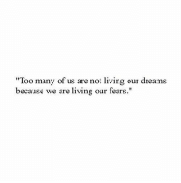 """Our Dreams: """"Too many of us are not living our dreams  because we are living our fears."""""""