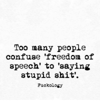 Freedom of Speech: Too many people  confuse 'freedom of  speech' to 'saying  stupid shit'  Fuckology