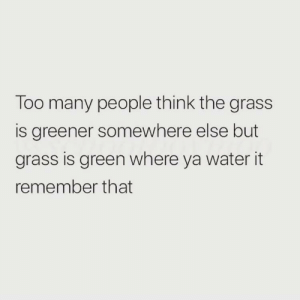 too many people: Too many people think the grass  is greener somewhere else but  grass is green where ya water it  remember that