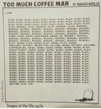Life, Love, and Regret: TOO MUCH COFFEE MAN BY SHANNON WHEELER  LIFE  PLAY, PLAY, PLAY, PLAY, PLAY, PLAY, PLAY, PLAY, PLAY, PLAY,  PLAY, PLAY, PLAY, PLAY, PLAY, PLAY, PLAY, PLAY, PLAY, PLAY,  PLAY, PLAY, PLAY, PLAY, PLAY, PLAY, PLAY, PLAY, PLAY, PLAY,  PLAY, SCHOOL, PLAY, SCHOOL, PLAY, SCHOOL, PLAY, SCHOOL,  SCHOOL, SCHOOL, SCHOOL, SCHOOL, SCHOOL, SCHOOL, SCHOOL  SCHOOL, SCHOOL, SCHOOL, SCHOOL, SCHOOL, SCHOOL, SCHOOL  SCHOOL, SCHOOL, SCHOOL, SCHOOL, SCHOOL, SCHOOL, SCHOOL,  FIRST LOVE, BRIEF HAPPINESS, BREAK UP, REGRET, SCHOOL,  SCHOOL, SCHOOL, SCHOOL, SCHOOL, SCHOOL, SCHOOL, SCHOOL,  SCHOOL SCHOOL, SCHOOL, SCHOOL, SCHOOL, SCHOOL, SCHOOL,  PLAY, WORK, PLAY, WORK, PLAY, WORK, PLAY, WORK,  IDEALISM, EFFORT, REJECTION, FAILURE, WORK, EFFORT, FAILURE,  COMPROMISE, WORK, WORK, WORK, WORK, WORK, WORK, PLAY,  COMMITMENT, WORK, WORK, WORK, WORK, WORK, WORK, PLAY,  WORK, WORK, WORK, WORK, WORK, WORK, WORK, WORK, PLAY,  WORK, WORK, WORK, WORK, WORK, WORK, WORK, WORK, PLAY,  WORK, WORK, WORK, WORK, WORK, WORK, WORK, WORK, PLAY,  WORK, WORK, WORK, WORK, WORK, WORK, WORK, WORK, PLAY,  WORK, WORK, WORK, WORK, WORK, WORK, WORK, WORK, PLAY,  WORK, WORK, WORK, WORK, WORK, WORK, WORK, WORK, PLAY,  WORK, WORK, WORK, WORK, WORK, WORK, WORK, WORK, PLAY  WORK, WORK, WORK, WORK, WORK, WORK, WORK, WORK, PLAY,  WORK, WORK, WORK, WORK, WORK, WORK, WORK, WORK, PLAY  WORK, WORK, WORK, WORK, WORK, WORK, WORK, WORK, PLAY,  WORK, WORK, WORK, WORK, wORK, WORK, WORK, WORK, PLAY,  WORK, WORK, WORK, WORK, WORK, WORK, WORK, WORK, PLAY,  WORK, WORK, WORK, WORK, wORK, WORK, WORK, WORK, PLAY,  WORK, WORK, WORK, WORK, WORK, WORK, WORK, WORK, PLAY,  RETIRE, PLAY, DIE  Stages of the life cucle