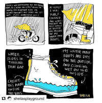 Repost @sheilasplayground ・・・ This heavy rain in Jakarta creates an irony for my waterproof boots. komikinajah sianginajah seninkritis: TooAY I WAS UNPREPARED FoR THE HEA  RAN, So I ASKED THE JEK DRIVER TO  SHARE His RAN COAT WITH ME.  S0uNDS ROMANTIC But TRUST ME IT'S  NOT. JCK MOToRCYCLE TAXi)  AT LEAST  I WAS  HALF  COVERED.  AND WHEN I  THoubHT MY  FEET WOULD  BE SPARED  DRY BECAUSE  OF My  WATER PRODF  BOOTS  WATER- 10  SLIDES iN  THROU6H  THAT 6AP  MY WATER-PROOF  BOOTS ARE DRY  ON THE ouTSIDE,  AND CUNGIN6  WET ON TH E  IN SiDE  CREATE  THiS PUDDUE  INSIDE  THE SHES  SHELA  sheilasplayground Repost @sheilasplayground ・・・ This heavy rain in Jakarta creates an irony for my waterproof boots. komikinajah sianginajah seninkritis