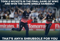 Anya Shrubsole's 6-wicket haul propelled England women to win the thrilling final.: TOOK 6 WICKETS IN THE FINAL GAME OF wwc  AND WON THE GAME SINGLE HANDEDLY  ENGLAND  mirates  Flr  THAT'S ANYA SHRUBSOLE FOR YOU Anya Shrubsole's 6-wicket haul propelled England women to win the thrilling final.