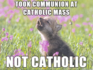 Catholic, Advice Animals, and Mass: TOOK COMMUNION AT  CATHOLIC MASS  NOT CATHOLIC  made on ingu I don't like being left out.