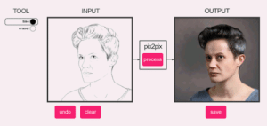 s:  doomy: dat-soldier:  prostheticknowledge:  Fotogenerator Pix2Pix Online neural network Pix2Pix webtoy appears to visually translate your drawings into style of portrait images (I'm guessing here, as sources and documentation are not apparent). Try it out for yourself here  HHHHHHHH   someone do meme face  : TOOL  INPUT  OUTPUT  line  eraser(  pix2pix  process  undo  clear  save s:  doomy: dat-soldier:  prostheticknowledge:  Fotogenerator Pix2Pix Online neural network Pix2Pix webtoy appears to visually translate your drawings into style of portrait images (I'm guessing here, as sources and documentation are not apparent). Try it out for yourself here  HHHHHHHH   someone do meme face